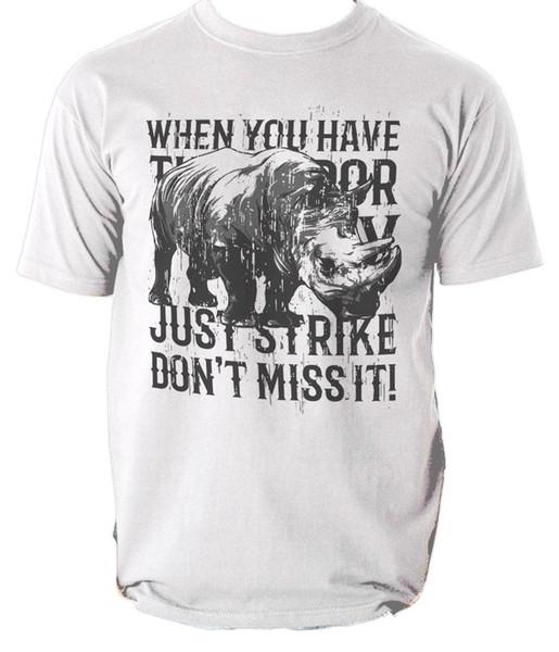 Rhino t shirt animal motto s-3xl Men Women Unisex Fashion tshirt Free Shipping black