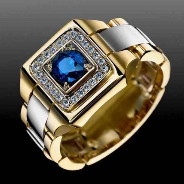 Petit Cristal Bleu Zircon Pierre Anneau Homme Femme Jaune Or Bague De Mariage Bijoux Promesse Anneaux Pour Hommes Et Femmes