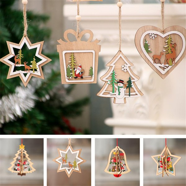 Christmas wood five-pointed star Bubble pattern Ornament Christmas Tree Decorations Home Festival Ornaments Christmas Gift Wholesale