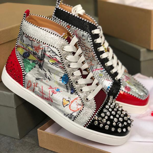 Spikes Sapatilhas de couro vermelhas Homens sapatos sapatos de fundo de design e mulheres de couro formadores casuais sapatos Pik Pik enchidas Sneakers tamanho 13