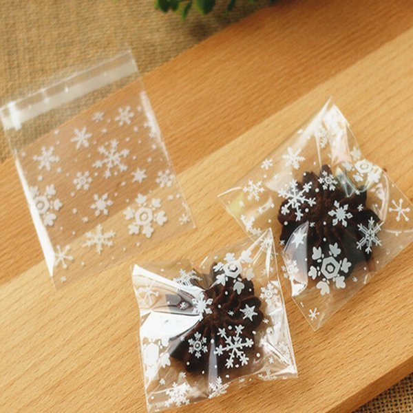 New Arrival 10x10cm Clear Christmas Snowflake Cookie Bag Plastic Cellophane Self Adhesive Seal Bakery Gift Cello Bags Wrapping A Gift Box Wrapping
