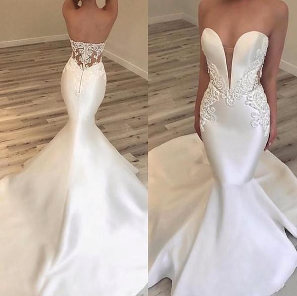 2019 New Luxury Arabic Mermiad Wedding Dresses Sweetheart Satin Lace Appliques Beads Sleeveless Open Back Sweep Train Custom Bridal Gowns