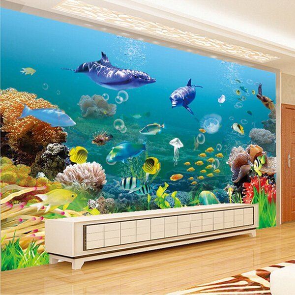 Custom Mural Wallpaper Underwater World 3D Stereo Children's Room Bedroom Living room TV Background Wall 3D Photo Wallpaper