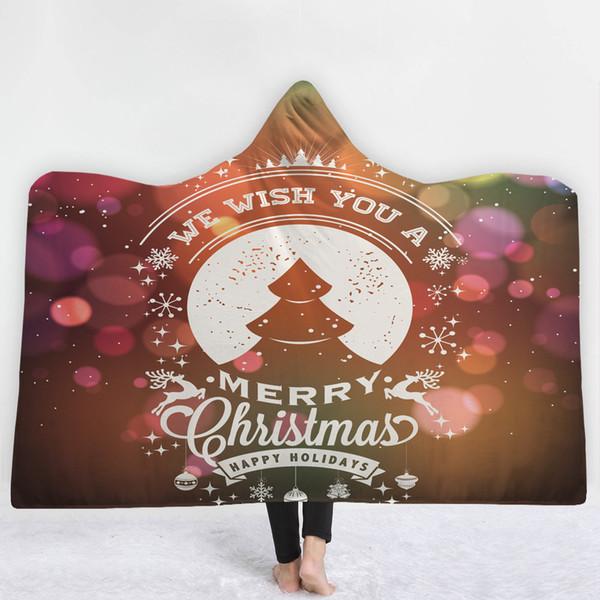 40 Stilleri Rüya Merry Christmas Karikatür 3D Baskılı Peluş Kapşonlu Battaniye Yataklar için Sıcak Giyilebilir Yumuşak Polar Battaniye Atmak Noel