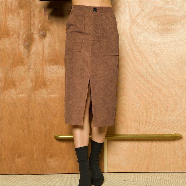 494dd3309466 Women Corduroy Skirt Female High Waist Split Midi Camel Skirts with Pockets  Fashion Women Autumn Winter