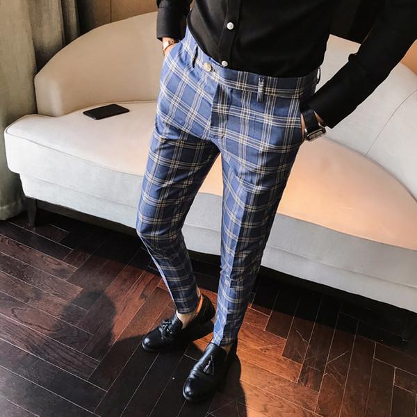 Mens Casual Xadrez Azul Cinza Slim Fit Calças Calças Britânicas Misturar A Cor do Terno Calças Tornozelo-Comprimento X34