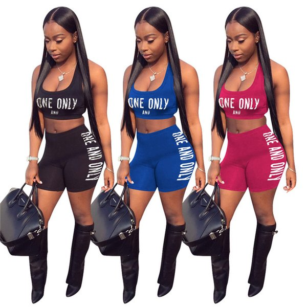 Letter Print Casual 2 Piece Set Outfit Summer Tanks Crop Top And Fit Slim Short Pants Women Fitness Suits 3 Colors OYP L5219
