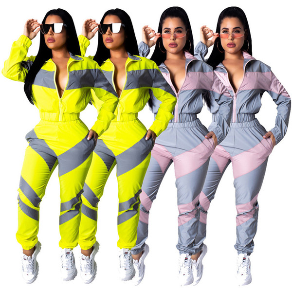 2019 Bahar Patchwork Kadın Eşofman Fermuar Ceket + Pantolon 2 Parça Joggers Set Uzun Kollu Ceket + Pantolon Spor S-2XL Spor Takım Elbise A3194