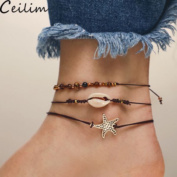 Starfish Pendant Anklet Beads Shell Bracelet For Women Antique Silver Color Barefoot Sandal Statement Bracelet Foot Chain Boho Beach Jewelry