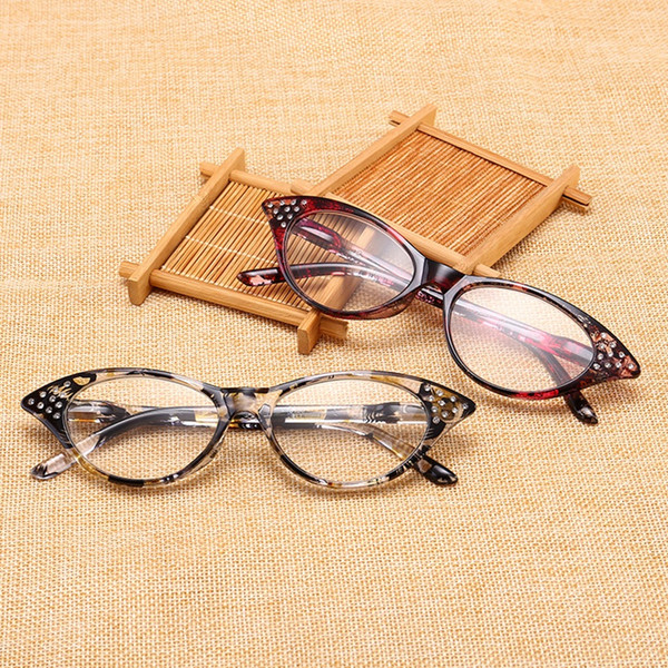 Half Frame Reading Glasses Women cat eye Optical Mirror Glasses Anti-Fatigue Hyperopia Women HD Resin Lens Presbyopic LJJV406