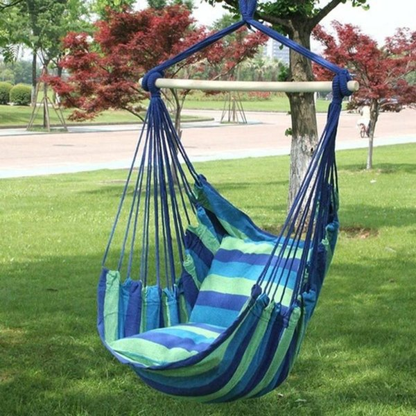 Portable Outdoor Hanging Chair Hammock Hanging Rope Chair Swing Seat with 2 Pillows for Home Yard Garden Climbing Trave