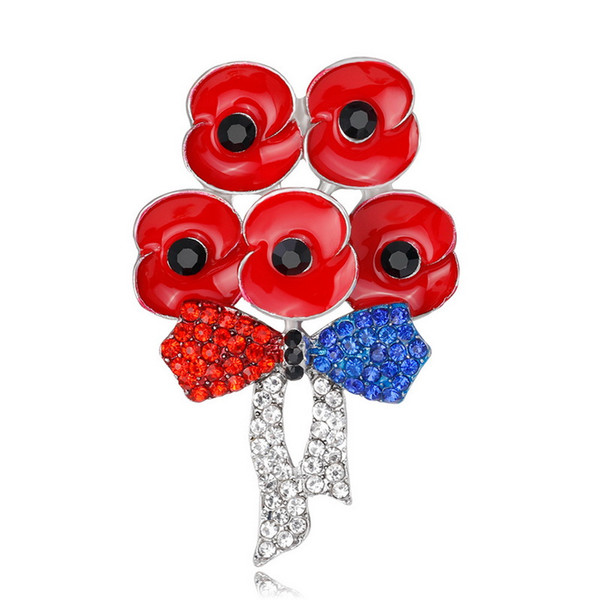 New Style Red Enamel Flower Poppy Brooch Rhinestone Bowknot Badge Collar Pins Suit Accessories 2 colors DHL Free Shipping