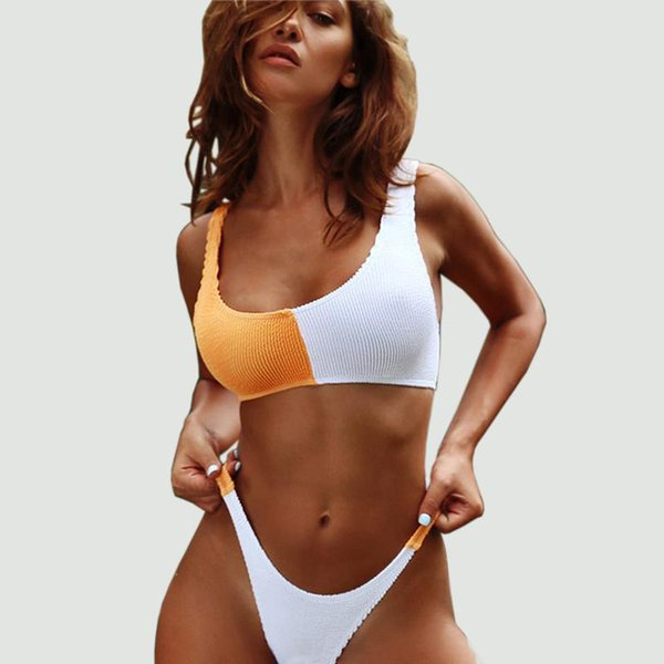Women Two Tone Ribbed Bikini Set Bathing Suits Sexy Swimwear Swimsuit Scoop Neck Top With High-Cut Thong Bikinis