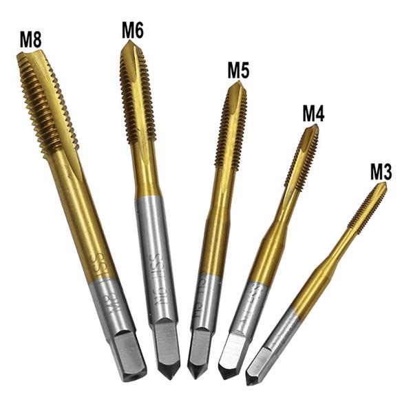 M3 M8 Acier à coupe rapide à bout en titane revêtu de HSS métrique, droit, cannelé, fileté