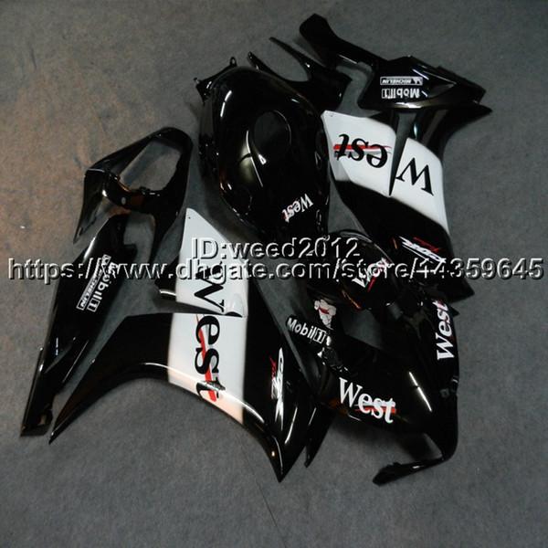Custom + Screws Injection mold West black capucha de motocicleta para HONDA CBR 1000 RR 2012 2013 2014 2015 2016 CBR1000RR ABS motor Carenado