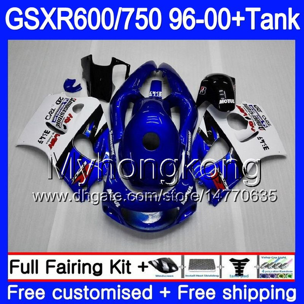 Cuerpo + tanque para SUZUKI SRAD GSXR 750 600 GSXR600 96 97 98 99 00 291HM.15 GSXR-600 GSXR750 1996 1997 1998 1999 2000 Factory blue hot Fairings