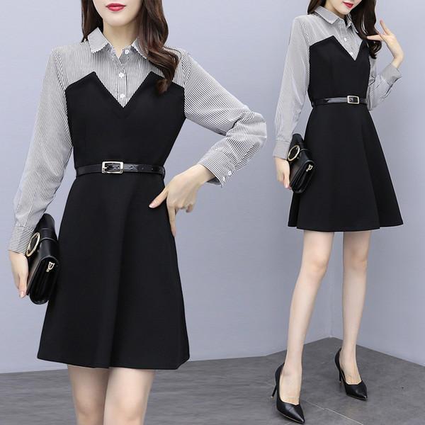 YICIYA negro 2019 primavera vestido de empalme a rayas con fajas de oficina mujeres más tamaño gran bodycon vestidos elegantes ropa de invierno