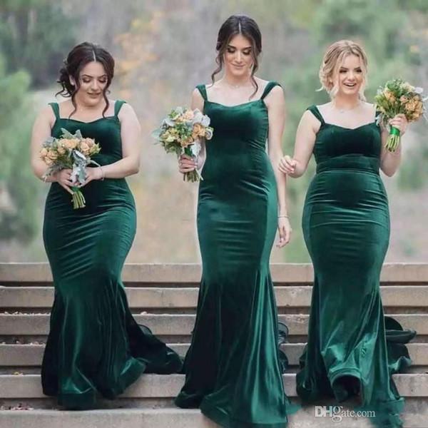 2020 New Green Velvet Plus Size Mermaid Beach Bridesmaid Dresses Spring  Long Wedding Guest Dress African Formal Dresses Cheap Prom Dresses Lilac ...