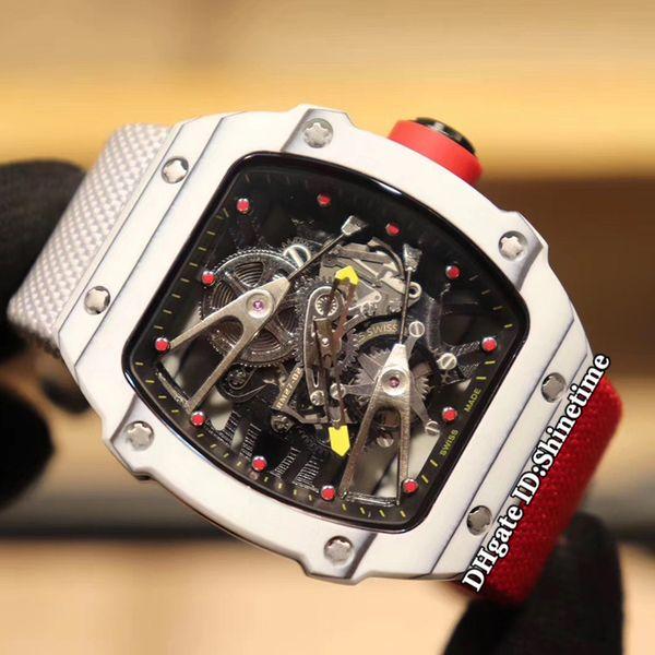 Beste Auflage New RM27-02 Nadal Skeleton Dial Carbon-Faser-Kasten Japan Miyota Automatik Herren-Uhr RM 27-02 Zwei-Ton-Nylonband Sportuhren