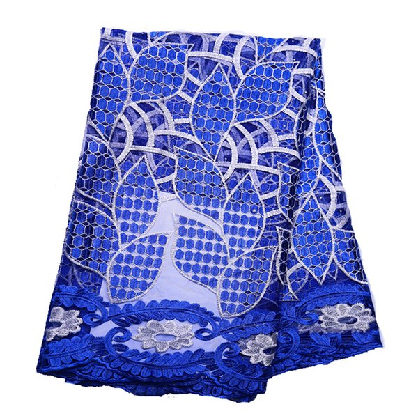 New Arrival Blue Color African Lace Fabrics High Quality Cord Guipure Lace Fabric Women Nigerian Water Soluble Lace Fabric BL117