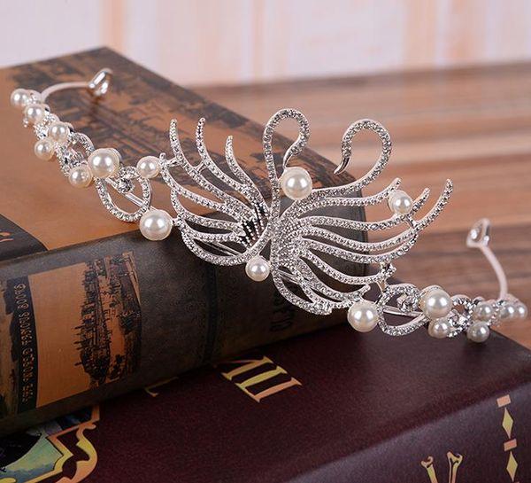 Bride's Marriage Pearl Swan Princess Crown and Crown Wedding Dress Accessories Headwear
