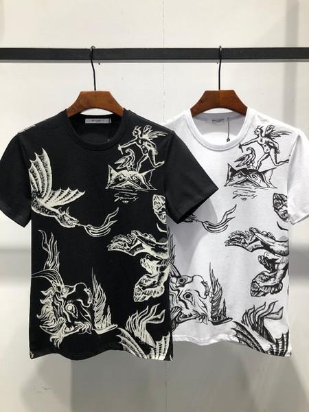 Geben Sie im Frühjahr und Sommer ein neues Mode-Herren-T-Shirt mit atmungsaktivem Komfort-Drachen-Druckmuster aus Baumwollstoff