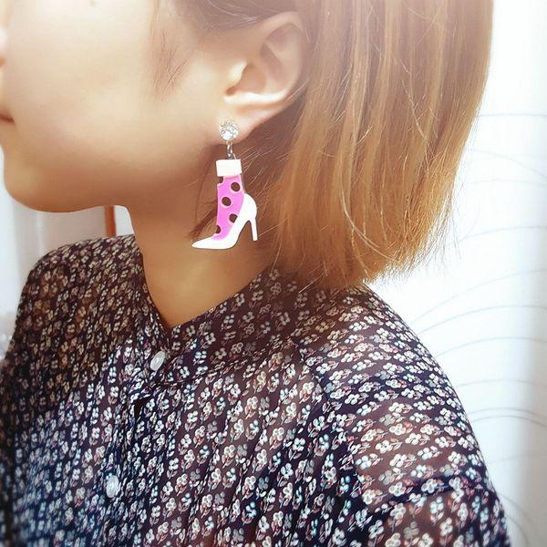 Mode Schöne Acryl Ohrringe Rosa High Heels Schuhe Ohrringe Für Frauen Nette Charme Geschenke Strumpf Socken Design Ohrschmuck