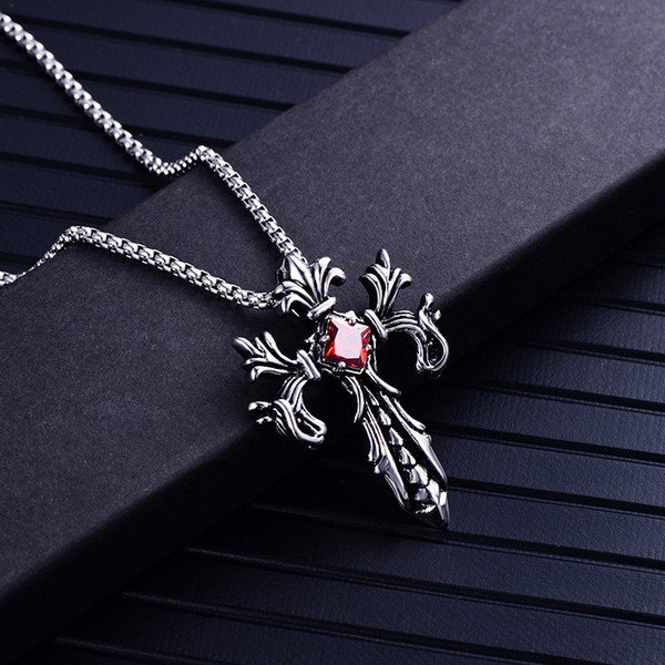 Mens Titanium Steel Cross Necklace Gothic White Red Gemstone Diamond Punk Arrow Pendants Necklaces Statement Collar Men Boutique Jewelry