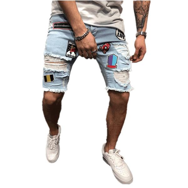 Erkek Tasarımcı Denim Şort Moda Yaz Fermuar Delik Kısa Erkek Ince Pantolon Hip Hop Erkek Kısa Kot Mavi