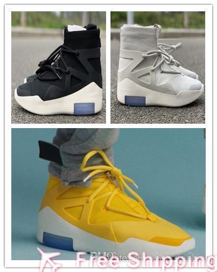 2019 Medo De Ar 2019 De Deus 1 Botas de Osso de Luz Sapatos de grife de Moda Névoa Atletismo Ao Ar Livre Amarillo Branco Amarillo Preto Zoom Sneakers Com
