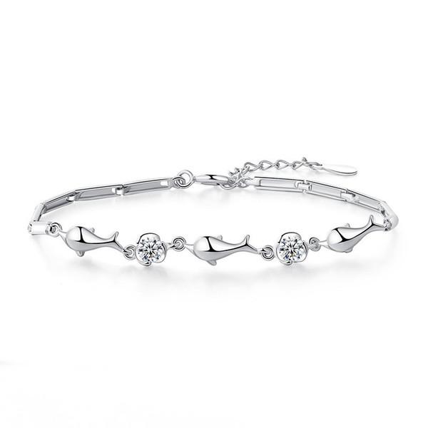 Fashion Silver Chain Silver Plated Bracelet Bangle Adjustable Simple Bracelets Dolphin Bracelet Woman Wedding Party Jewelry