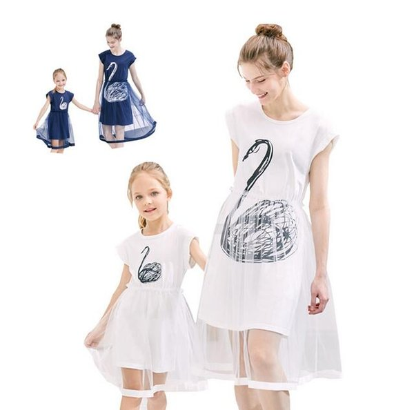 2019 New Swan Figure Mother And Daughter Dresses Mid-Length Matching Mom And Daughter Clothes Family Matching Clothes Mommy And Me Dress