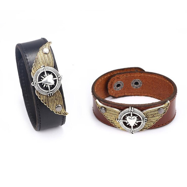 f8add6bc66f62 2019 Men'S Leather Bracelet Jewelry Adjustable Cuff Punk Wristband Wrap  Heart Shaped Wings Designer Bracelets Bangles For Men From Htlove, $2.73 |  ...