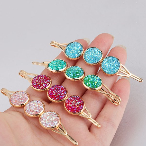 Gold Women Hair Accessorie 12mm Druzy Druzy Resin Cabochon Hair Clips Fashion Jewelry Colourful Barrettes