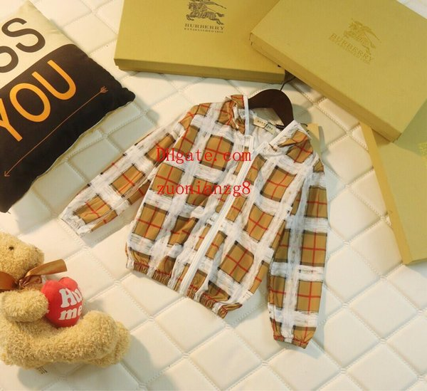 kids clothes girls boys Casual plaid hood sun protection clothing kid hoodie jacket coat baby boy girls clothes children clothes AB-2