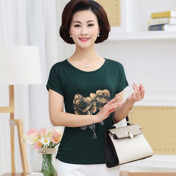 modal cotton short sleeve t-shirt 2019 summer new middle age mother clothes plus size women diamond printed casual top