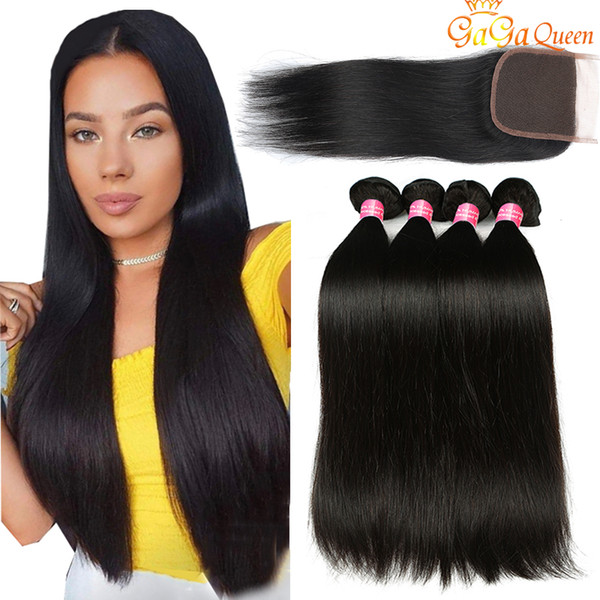 best selling 28 30 INCH Gagaqueen Brazilian Straight Hair Bundles With Closure 3 Bundles Human Hair Extensions 4x4 Lace Closure With Brazilian Straight Hair