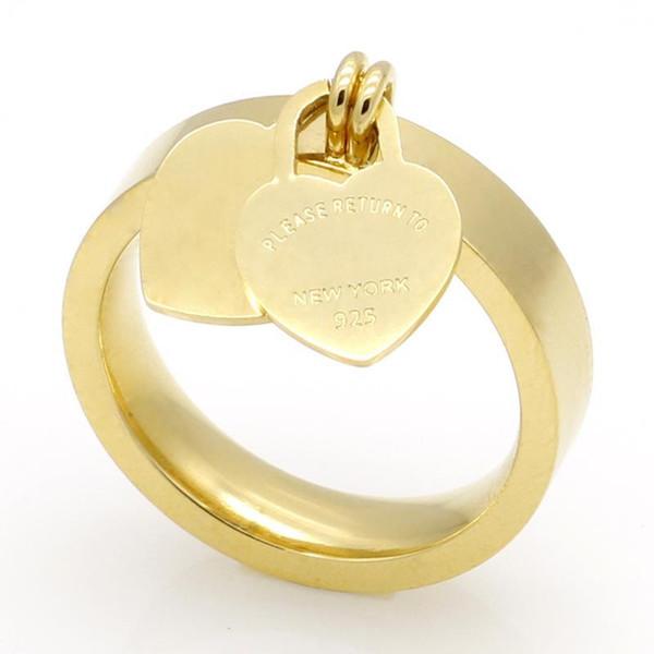 ZTUNG B95 moda 316L paslanmaz çelik 18 K altın kaplama kalp yüzük T aile mektubu yüzük kadın yüzük takı