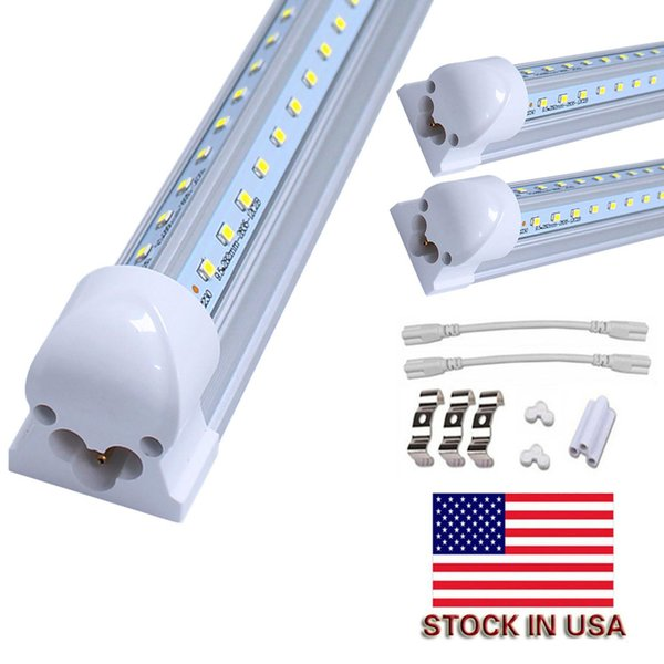 Luces de tubo LED T8 en forma de V 4FT 40W 5FT 50W 6FT 65W 8FT 90W 2.4m Puerta enfriadora integrada Iluminación fluorescente de doble resplandor LED
