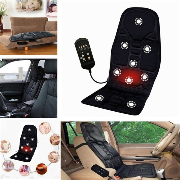 Black 12V Car Electric Heated Massage Seat Cushion Pain Neck Waist Relaxation Vibration Massager Pad Car Full Body Massage Seat