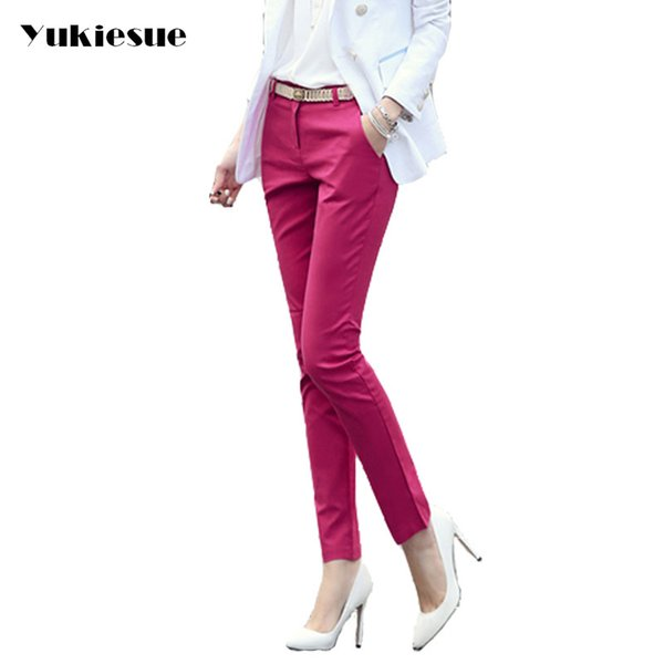 High Waist Elegant Woman Office Pants Trousers Work Capris Ladies Ol Formal Pencil Skinny Pants Classic For Women Plus Size Y190502