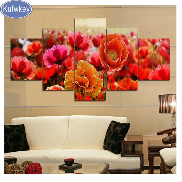 Decoração de casa Pictures Diamante Pintura papoulas vermelhas Ponto Cruz Diamante Bordado flor praça cheia broca rodada Mosaico presente