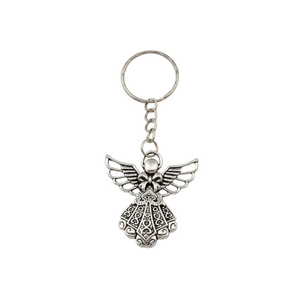top popular Hot sell ! 30pcs DIY Accessories Material Antique silver Zinc Alloy Angel Band Chain key Ring Travel Protection DIY Jewelry 2020
