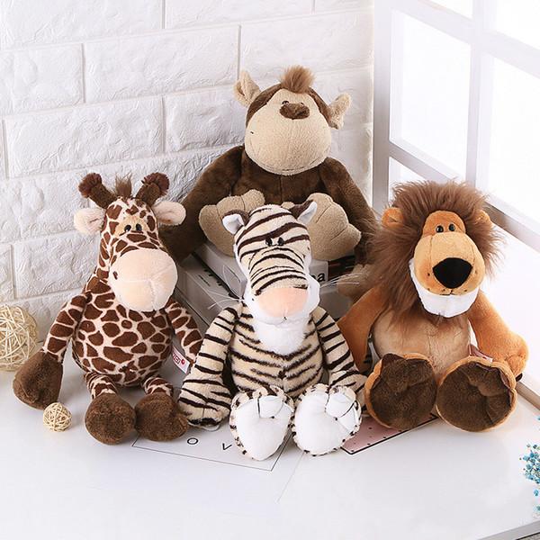 10PCS 25cm/35cm Cute Big Giraffe Lovely Tiger Plush Stuffed Animal Monkey Lion Doll Toys for Kids Christmas