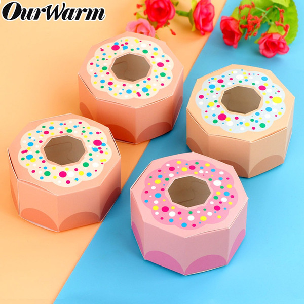 Ourwarm Hexagon Donut Party Paper Candy Box For Baby Shower Gift Boxes Donut Theme Birthday Party Decorations Kids Favors Personalized Gift Wrap Paper