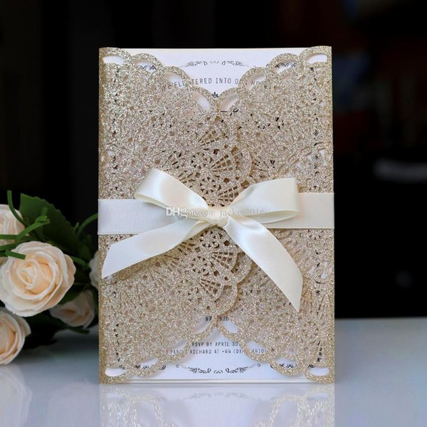 Champagne/Gold/Silver/Blue Glitter Jackets Laser Cut Sweet 15 Quinceanera Invitations Sweet 16 Formal Invite Princess Invitation with Ribbo