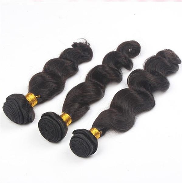 Black Color Peruvian Hair Bundles Loose 100% Human Hair Extensions Remy 1 Piece Virgin Hair Weave