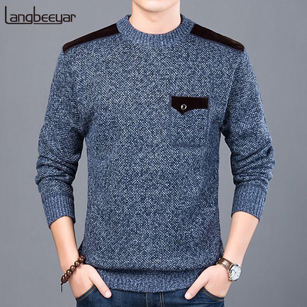 2019 Nova Marca de Moda Camisola Para Os Homens Pullovers Slim Fit Jumpers Malhas O-pescoço Outono Estilo Coreano Roupas Casuais Masculino