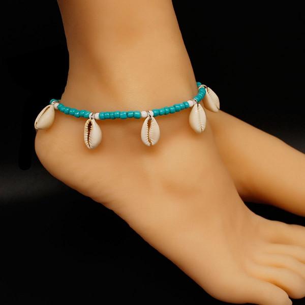 Granos de tejer pulseras de tobillo concha natural cadena de playa tobillera moda hechos a mano adornos del pie venta caliente