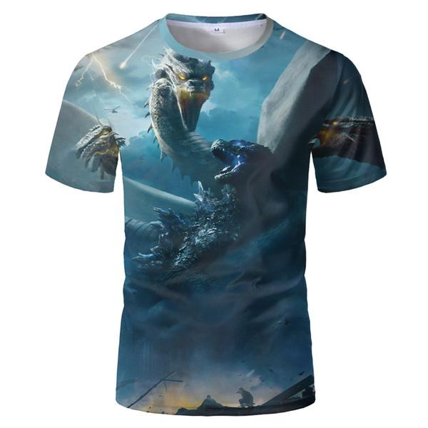 2019 transfrontalieri T-shirt mostro Godzilla battaglia digitale 3D uomini nuovi stampato T-shirt da uomo